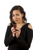 少妇吃巧克力 免版税库存照片