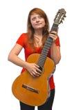 少妇和吉他 免版税库存图片