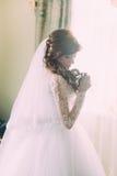 少妇和面纱美丽的画象白色礼服的在窗口附近的早晨 卷曲发型 库存照片