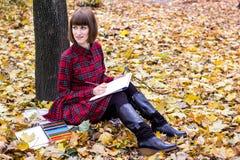 少妇图画在秋天公园 库存图片
