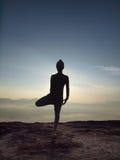 少妇在上午执行在峭壁的瑜伽 免版税库存照片