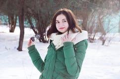 少妇在公园在冬天 库存照片