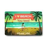 少妇在夏天海滩骑红色自行车在日落 销售迪斯科 免版税库存照片