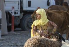 少妇在尼兹瓦山羊市场上 免版税图库摄影