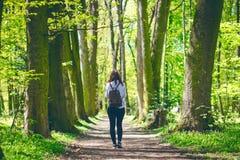 少妇在森林里拍与巧妙的电话的一张照片在一条路 免版税库存照片