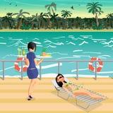 少妇在比基尼泳装的一deckchair晒日光浴在甲板 库存例证