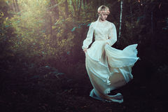 少妇在童话森林里 免版税库存图片