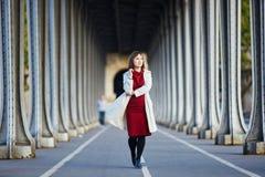 少妇在BirHakeim桥梁的巴黎 库存图片