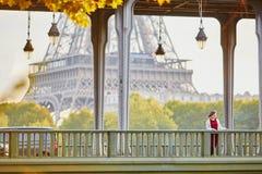 少妇在BirHakeim桥梁的巴黎 免版税库存照片
