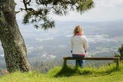 少妇坐看自然的长凳 库存图片