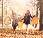 少妇夫妇有购物袋的在公园 库存照片