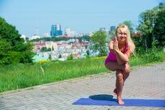 少妇实践的瑜伽本质上 库存照片