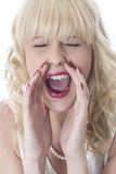 少妇害怕的尖叫的叫喊 免版税库存图片
