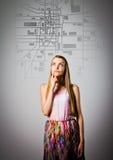 少妇寻找在城市地图的一条路线 库存照片