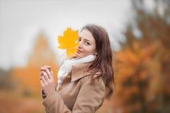 少妇掩藏与秋天黄色槭树事假的半面孔 免版税库存图片