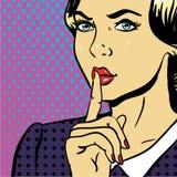 少妇显示是可笑沈默标志的流行艺术 库存图片