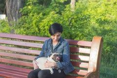 少妇有与哈巴狗的好时间在绿草、俏丽的女孩有狗戏剧的在公园在日落期间或日出 库存照片