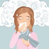 少妇有过敏、流鼻水和咳嗽 过敏对尘土、花粉、动物、医学、食物和昆虫 免版税图库摄影