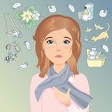 少妇有过敏,发痒的眼睛,红色眼睛,含水眼睛,泪花 过敏对尘土,花粉,动物,医学,食物 库存照片