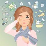 少妇有过敏,发痒的眼睛,红色眼睛 过敏对尘土、花粉、动物、医学、食物和昆虫 库存照片