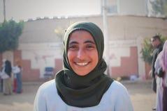 少妇正派微笑画象在埃及 免版税库存照片