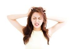 少妇注重了变疯狂和拉扯她的头发 库存照片