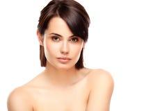 少妇的美丽的面孔有干净的新鲜的皮肤的 图库摄影