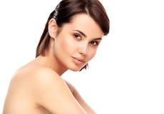 少妇的美丽的面孔有干净的新鲜的皮肤的 免版税库存照片