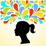 少妇的头的剪影认为明亮五颜六色飞溅 免版税图库摄影