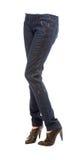 少妇盘在被用拉锁拉上的牛仔裤和鳄鱼皮革p的腿 库存照片
