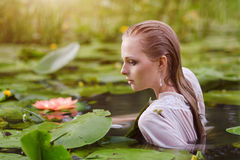 少妇秀丽画象在水中 有柔和的构成的女孩在莲花和荷花中的湖 室外 免版税库存图片
