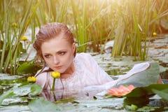 少妇秀丽画象在水中 有柔和的构成的女孩在莲花和荷花中的湖 室外 免版税库存照片