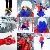 少妇美丽的冬天画象冬天多雪的风景的 免版税库存图片