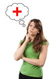 少妇考虑健康 免版税库存照片