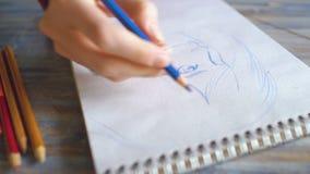 少妇艺术家在纸笔记本的绘画scetch有铅笔特写镜头的 股票录像