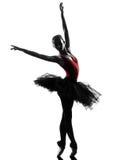 少妇芭蕾舞女演员跳芭蕾舞者跳舞剪影 免版税库存照片