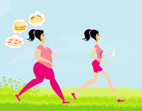 少妇跑步的,肥胖女孩和皮包骨头 图库摄影