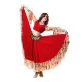 少妇跳舞,隔绝在白色的充分的身体 免版税库存图片