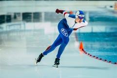 少妇运动员速度溜冰者 图库摄影