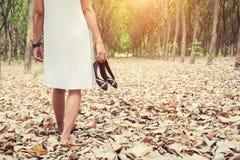 少妇运载的鞋子和走在绿色前面 免版税库存图片