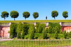 少妇通过公园走在圣的皮特Peterhof宫殿 免版税库存照片