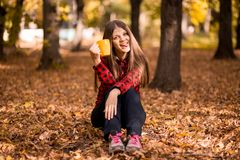 少妇饮料热的茶在秋天公园 免版税库存照片
