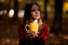 少妇饮料热的茶在秋天公园 库存图片