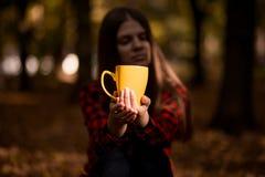 少妇饮料热的茶在秋天公园 图库摄影