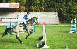 少妇骑师乘驾美丽的白马和跃迁在裤裆在马术运动 免版税库存图片