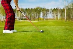 少妇高尔夫球运动员,后面看法画象 免版税库存照片