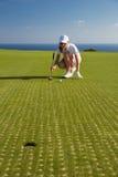 少妇高尔夫球运动员画象  免版税库存图片