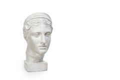 少妇,古希腊在与拷贝空间的白色背景隔绝的女神胸象大理石头文本的 库存图片