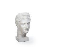 少妇,古希腊在与拷贝空间的白色背景隔绝的女神胸象大理石头文本的 库存照片