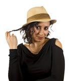 少妇戴帽子 免版税图库摄影